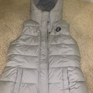 Abercrombie & Fitch Navy Hooded Puffer Vest